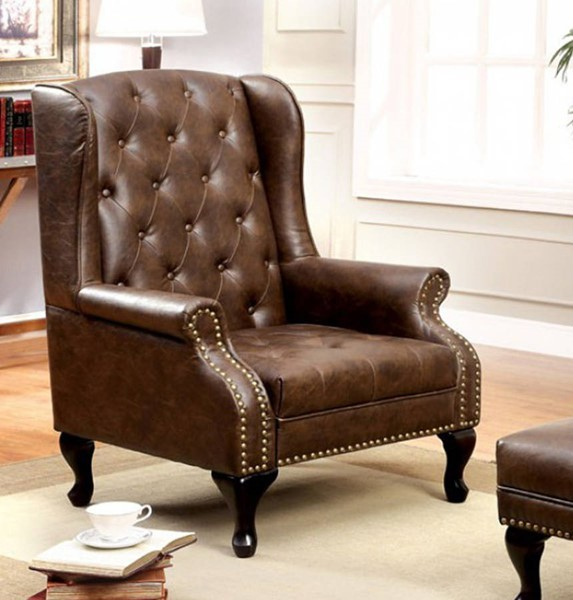 HomeRoots Traditional Brown Leather Wing Accent Chair OCN-301363