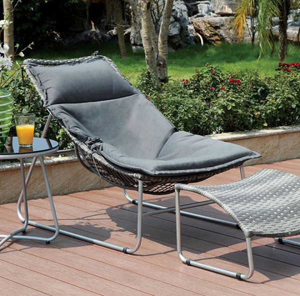 Homeroots Gray Polyester 2pc Patio Chair with Ottoman OCN-301418