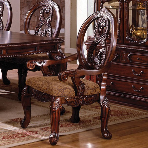 2 Homeroots Antique Cherry Solid Wood Fabric Cushion Arm Chairs OCN-301467