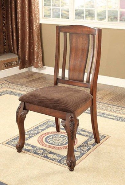 2 Homeroots Brown Cherry Wood Dining Side Chairs OCN-301470