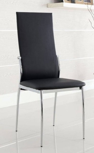 2 Homeroots Contemporary Black Leatherette Chrome Dining Side Chairs OCN-301495