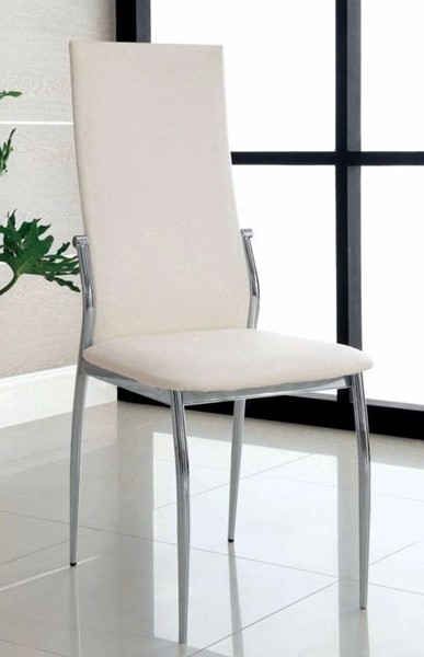 2 Homeroots Contemporary White Leatherette Chrome Dining Side Chairs OCN-301496