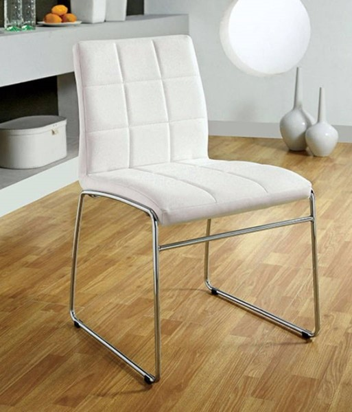 2 Homeroots White Leatherette Steel Tube Side Chairs OCN-301498