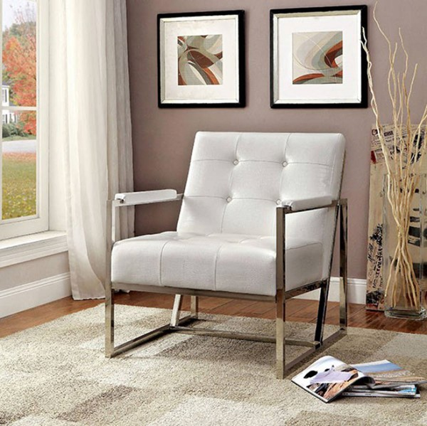 HomeRoots Contemporary White Leather Metal Arm Chair OCN-301500