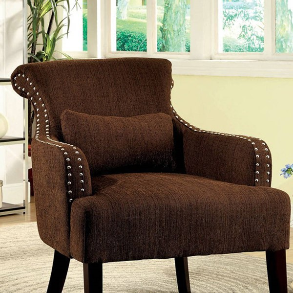 HomeRoots Contemporary Brown Fabric Solid Wood Accent Chair OCN-301507