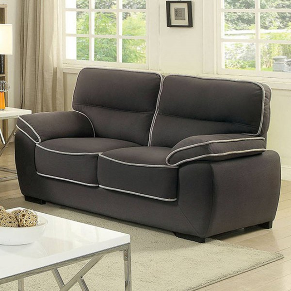 HomeRoots Contemporary Graphite Faux Nubuck Loveseat OCN-301606