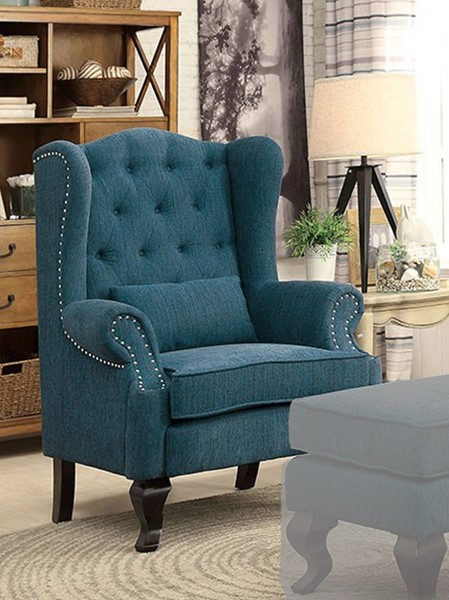 HomeRoots Traditional Dark Teal Polyester Leisure Chair with 1 Pillow OCN-301610
