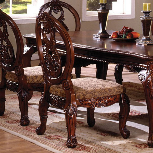 Homeroots Antique Cherry Solid Wood Fabric Cushion Side Chairs OCN-301617-DR-CH-VAR