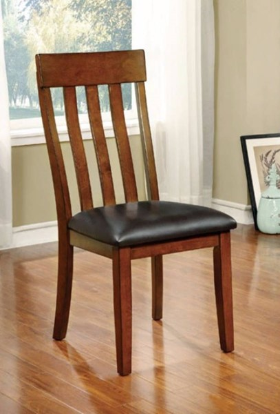 2 Homeroots Brown Leatherette Cherry Solid Wood Side Chairs OCN-301632