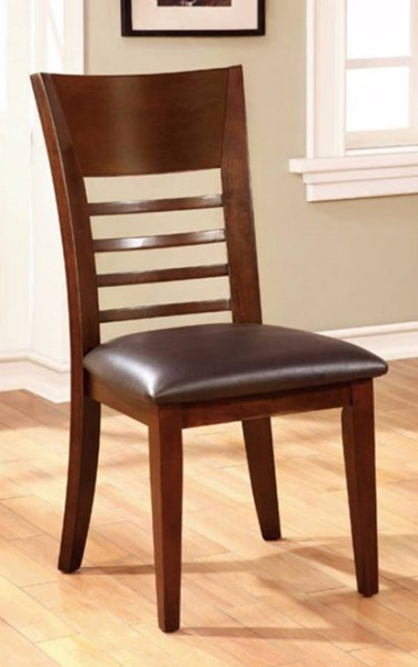 2 Homeroots Brown Cherry Solid Wood Leatherette Dining Side Chairs OCN-301634