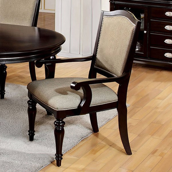 2 Homeroots Pewter Leatherette Dark Walnut Solid Wood Arm Chairs OCN-301635