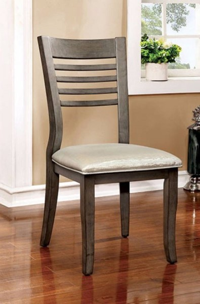 2 Homeroots Gray Solid Wood Fabric Side Chairs OCN-301644