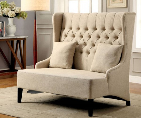 HomeRoots Contemporary Ivory Flax Fabric Solid Wood Loveseat OCN-301647