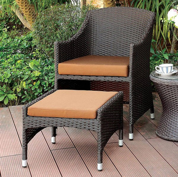 Homeroots Brown Fabric Espresso Arm Chairs with Ottoman OCN-301648