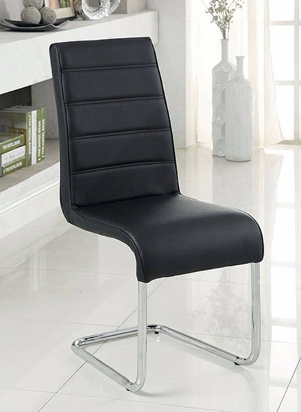 4 Homeroots Black Leather Steel Tube Side Chairs OCN-301652