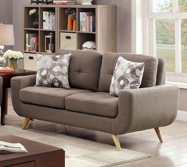HomeRoots Contemporary Gray Fabric Two Seater Tufted Loveseat OCN-301657