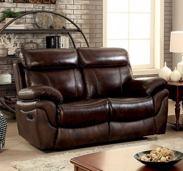 HomeRoots Transitional Brown Leather Cushions Loveseat OCN-301659