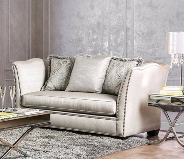 HomeRoots Silver Fabric Sophisticated Loveseat OCN-301675