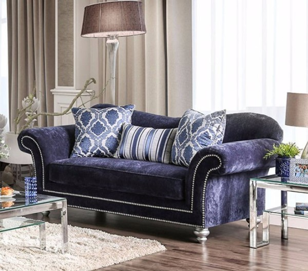 HomeRoots Navy Blue Fabric Chic and Elite Look Loveseat OCN-301677