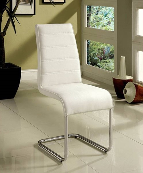 4 Homeroots White Leatherette Metal Rattling Spacious Side Chairs OCN-301682