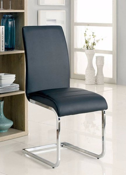 2 Homeroots Black Leather Metal Cushy Side Chairs OCN-301683