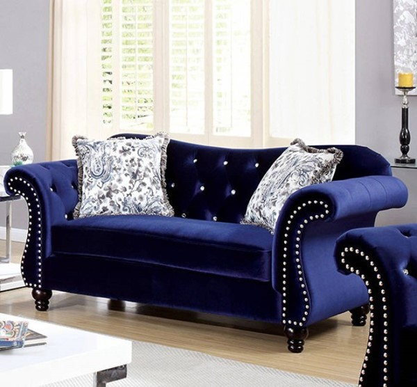 HomeRoots Traditional Blue Polyester Spande Glamorous Loveseats OCN-301695-LS-VAR