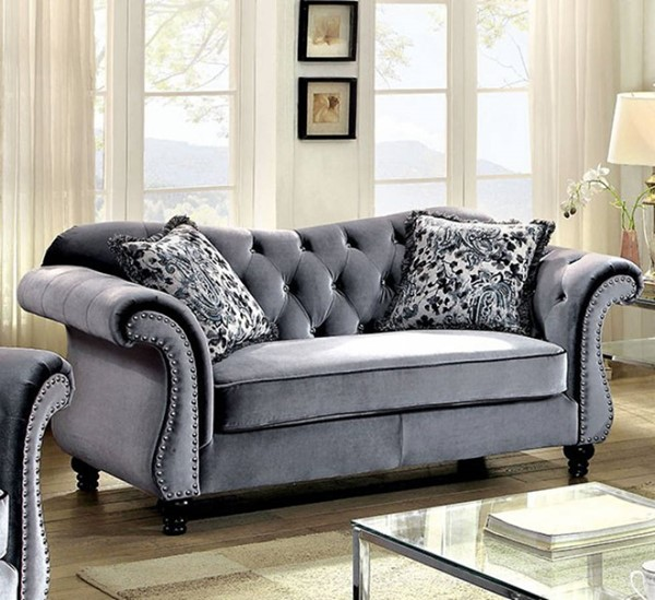 HomeRoots Traditional Gray Polyester Spande Glamorous Loveseat OCN-301696