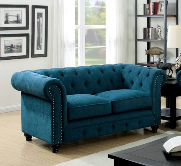 HomeRoots Traditional Blue Polyester Nail Trim Loveseat OCN-301698