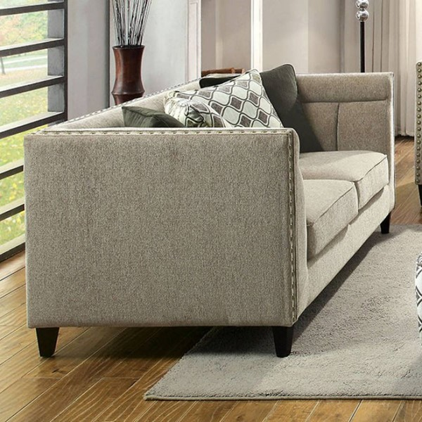 HomeRoots Transitional Brown Fabric Relaxing Loveseat OCN-301700