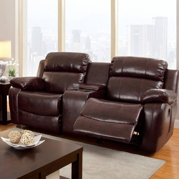 HomeRoots Transitional Dark Brown Bonded Leather Hughes Loveseat OCN-301703
