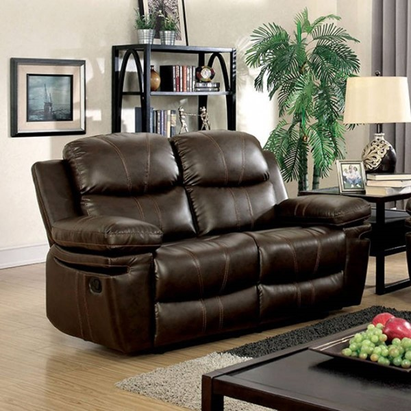 HomeRoots Brown Leatherette Comfy Loveseat OCN-301704
