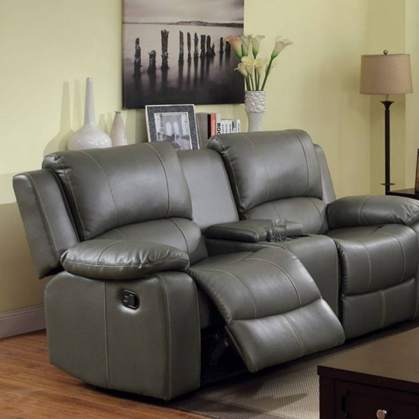 HomeRoots Transitional Gray Leather Motion Loveseat with Cup Holder OCN-301706