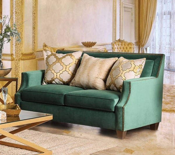 HomeRoots Green Microfiber Loveseat with Gold Tonned Pillows OCN-301712