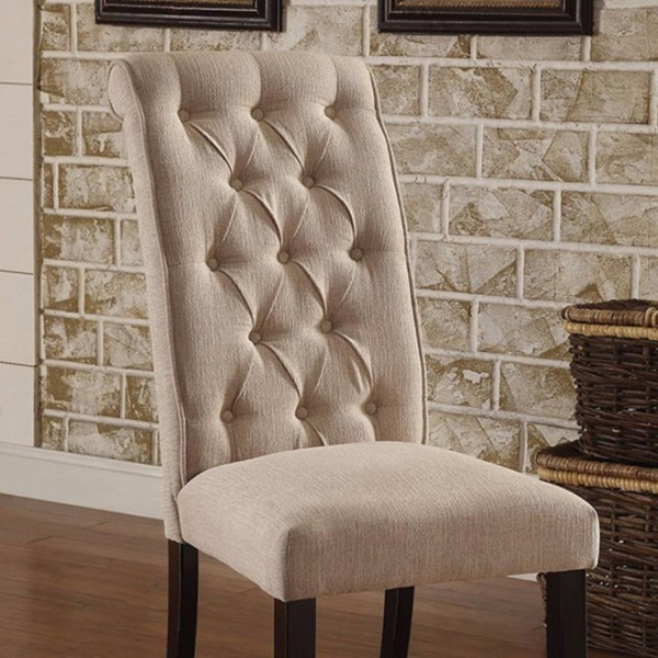 2 Homeroots Ivory Linen Dining Side Chairs OCN-301715