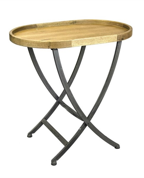 Homeroots Brown Wood Metal Cross Legs Oval Side Table OCN-301834