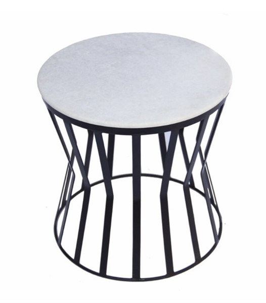 Homeroots White Marble Top Iron Base Round Side Table OCN-302121