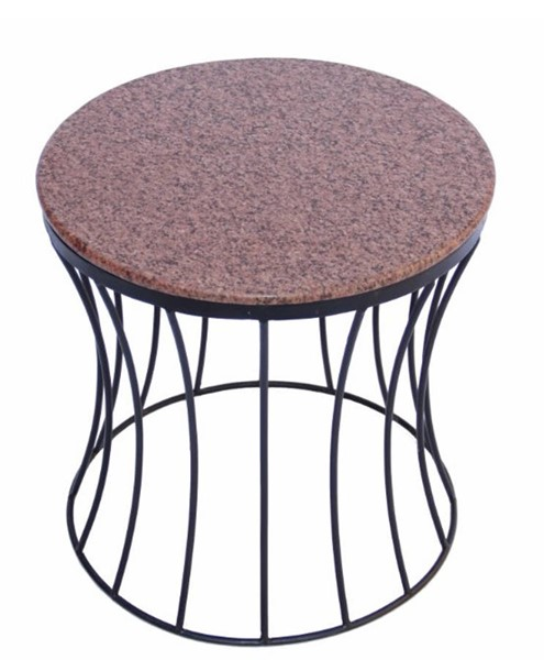 Homeroots Brown Marble Top Iron Base Side Table OCN-302122
