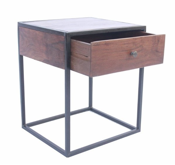 Homeroots Gray Iron Wood Bed Side Table OCN-302124