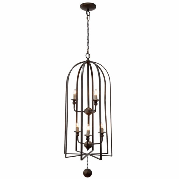 HomeRoots Brown Iron Imposingly Guised Chandelier OCN-302399