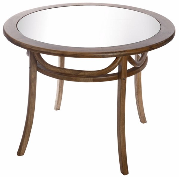 Homeroots Brown Elm Wood Glass Top Bistro Dining Table OCN-302433