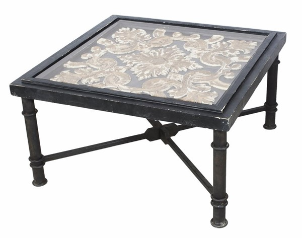 Homeroots Black Wood Arabesque Square Cocktail Table OCN-302438