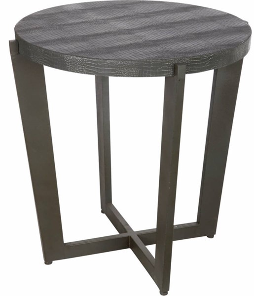 Homeroots Black Faux Leather Top Iron Occasional Table OCN-302439