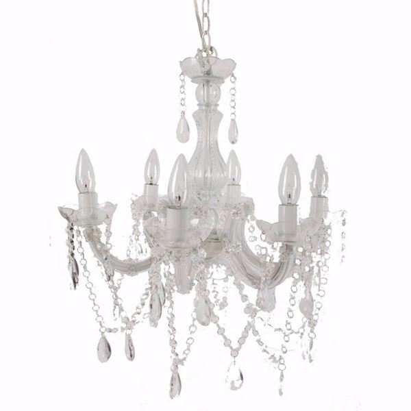 HomeRoots White Plastic Iron Alluringly Captive Winter Beaded Chandelier OCN-302479