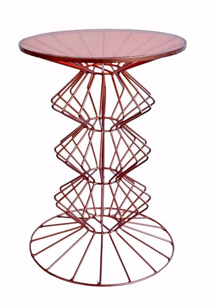 Homeroots Orianne Copper Metal Glass Top Side Table with Ornate Base OCN-302484