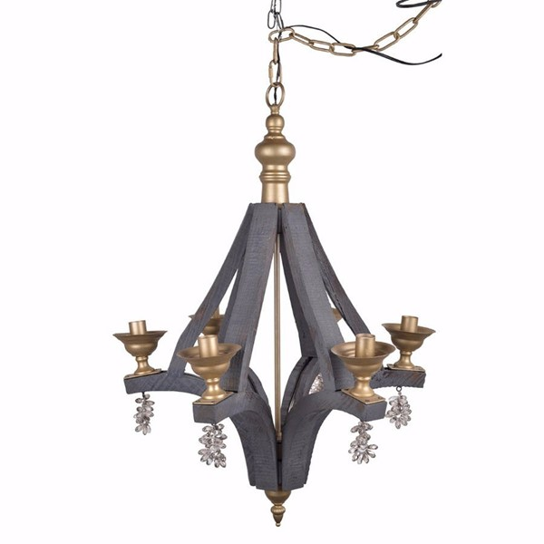 HomeRoots Gray Wood Gold Iron Artfully Calder Chandelier OCN-302489