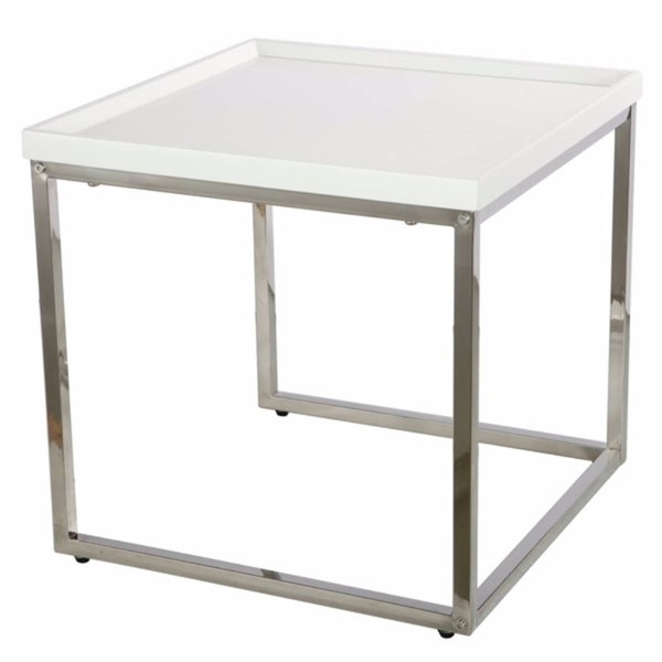 Homeroots White MDF Metal Compactly Striking Nesting Table OCN-302514