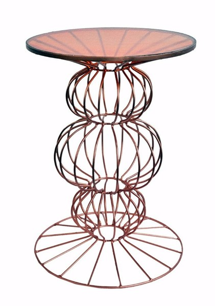 Homeroots Orianne Bronze Metal Glass Top Dazzling Side Table with Spherical Base OCN-302521