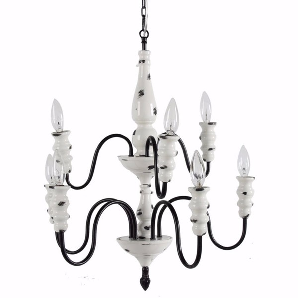 HomeRoots White Ceremic Metal Effortlessly Sublime 8 Arm Chandelier OCN-302527