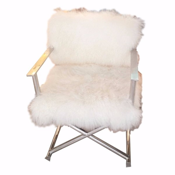 HomeRoots White Fur Glamorously Furred Directors Chair OCN-302552