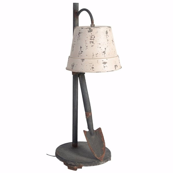 HomeRoots Ivory Gray Metal Glass Distressed Table Lamp OCN-302558